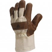 Delta Plus DR605 White Cloth Leather Grain Work Gloves