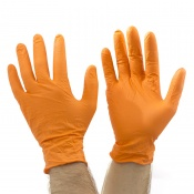 Orange Gripper Disposable Nitrile Gloves