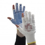 Partially Fingerless Knitted Nylon Low-Linting White Gloves with PVC Palm Dots NLNW-D3F