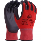 PCP-Red PU Coated Polyester Handling Gloves
