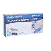 Portwest Powdered Vinyl Disposable Blue Gloves A900BL