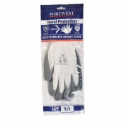 Portwest Nitrile Grip Grey and White Gloves with Retail Bag A319GRW