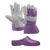 Gardening Women's Bundle with Garden Clogs and Rigger Thorn Proof Gloves
