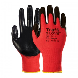 TraffiGlove TG135 Tough Nitrile Coated Cut Level 1 Handling Gloves