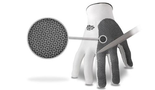 Small guard-plates prevent needles from puncturing the gloves