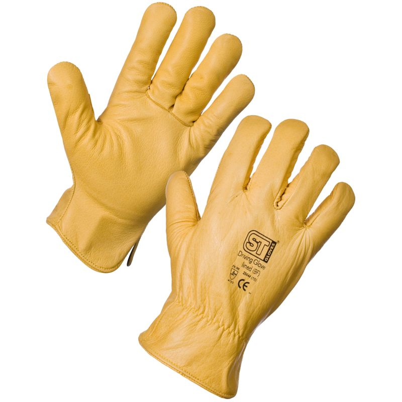 SUPERTOUCH LEATHER DRIVING GLOVES WITH FULL FLEECE LINING 2064